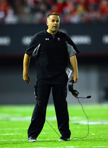 Oct 11, 2013; Cincinnati, OH, USA; Temple Owls head coach Matt Rhule on the sidelines during the first quarter against the Cincinnati Bearcats at Nippert Stadium. Mandatory Credit: Andrew Weber-USA TODAY Sports