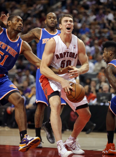 Oct 11, 2013; Toronto, Ontario, CAN; Toronto Raptors forward Tyler Hansbrough (50) is stripped of the ball by New York Knicks forward Metta World Peace (51) at Air Canada Centre. The Raptors beat the Knicks 100-91. Mandatory Credit: Tom Szczerbowski-USA TODAY Sports