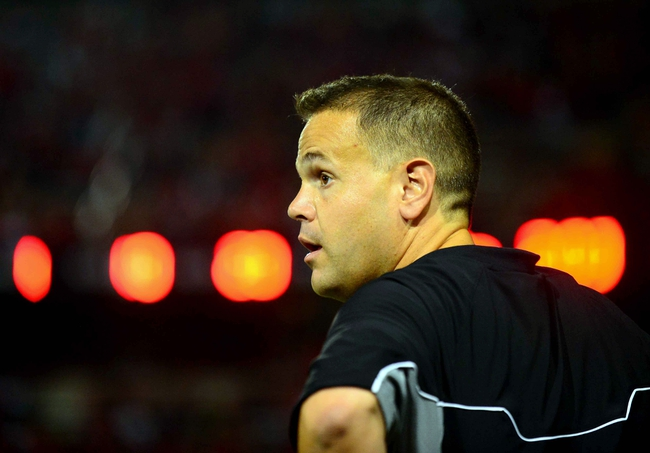 Oct 11, 2013; Cincinnati, OH, USA; Temple Owls head coach Matt Rhule on the sidelines during the third quarter against the Cincinnati Bearcats at Nippert Stadium. Mandatory Credit: Andrew Weber-USA TODAY Sports