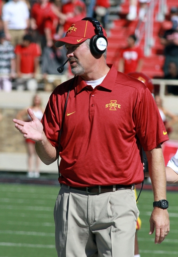 Oct 12, 2013; Lubbock, TX, USA; Iowa State Cyclones head coach Paul Rhoads on the sidelines in the game against the Texas Tech Red Raiders at Jones AT&T Stadium. Mandatory Credit: Michael C. Johnson-USA TODAY Sports