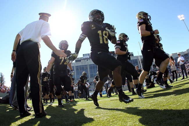 Oct 12, 2013; West Point, NY, USA; Army Black Knights running back Julian Crockett (18) takes the field before the game against the Eastern Michigan Eagles at Michie Stadium. Mandatory Credit: Danny Wild-USA TODAY Sports