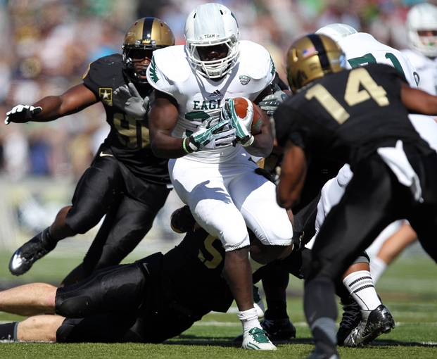 Oct 12, 2013; West Point, NY, USA; Eastern Michigan Eagles running back Bronson Hill (30) rushes the ball during the first half against the Army Black Knights at Michie Stadium. Mandatory Credit: Danny Wild-USA TODAY Sports