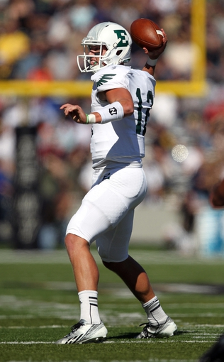 Oct 12, 2013; West Point, NY, USA; Eastern Michigan Eagles quarterback Tyler Benz (12) passes the ball during the first half against the Army Black Knights at Michie Stadium. Mandatory Credit: Danny Wild-USA TODAY Sports