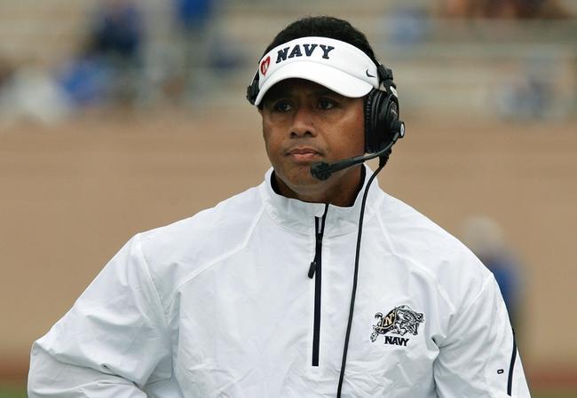 Oct 12, 2013; Durham, NC, USA; Navy Midshipmen head coach Ken Niumatalolo on the sidelines against the Duke Blue Devils at Wallace Wade Stadium. Mandatory Credit: Mark Dolejs-USA TODAY Sports