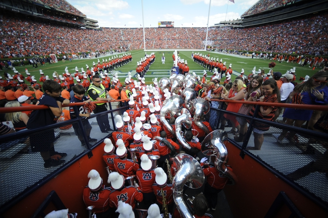 Oct 12, 2013; Auburn, AL, USA; The Auburn University Marching Band takes the field prior to the game against the Western Carolina Catamounts at Jordan Hare Stadium. Mandatory Credit: Shanna Lockwood-USA TODAY Sports