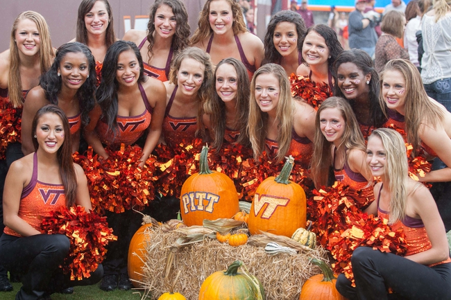 Oct 12, 2013; Blacksburg, VA, USA; The Virginia Tech Hokies dance team poses for a picture during the game against the Pittsburgh Panthers at Lane Stadium. The Hokies defeated Pitt 19-9. Mandatory Credit: Jeremy Brevard-USA TODAY Sports