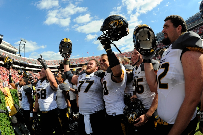 Oct 12, 2013; Athens, GA, USA; Missouri Tigers players react after defeating the Georgia Bulldogs at Sanford Stadium. Missouri defeated Georgia 41-26. Mandatory Credit: Dale Zanine-USA TODAY Sports