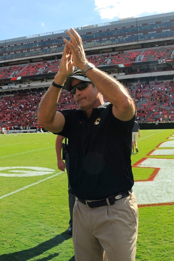 Oct 12, 2013; Athens, GA, USA; Missouri Tigers head coach Gary Pinkel  reacts after defeating the Georgia Bulldogs at Sanford Stadium. Missouri defeated Georgia 41-26. Mandatory Credit: Dale Zanine-USA TODAY Sports