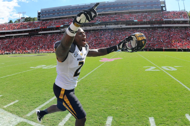 Oct 12, 2013; Athens, GA, USA; Missouri Tigers defensive back Duron Singleton (2)  reacts after defeating the Georgia Bulldogs at Sanford Stadium. Missouri defeated Georgia 41-26. Mandatory Credit: Dale Zanine-USA TODAY Sports