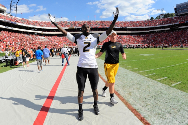 Oct 12, 2013; Athens, GA, USA; Missouri Tigers wide receiver L'Damian Washington (2)  reacts after defeating the Georgia Bulldogs at Sanford Stadium. Missouri defeated Georgia 41-26. Mandatory Credit: Dale Zanine-USA TODAY Sports