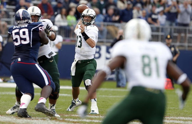 Oct 12, 2013; East Hartford, CT, USA; South Florida Bulls quarterback Bobby Eveld (13) looks and makes the pass to wide receiver Andre Davis (81) against the Connecticut Huskies in the second half at Rentschler Field. South Florida defeated Connecticut 13-10. Mandatory Credit: David Butler II-USA TODAY Sports