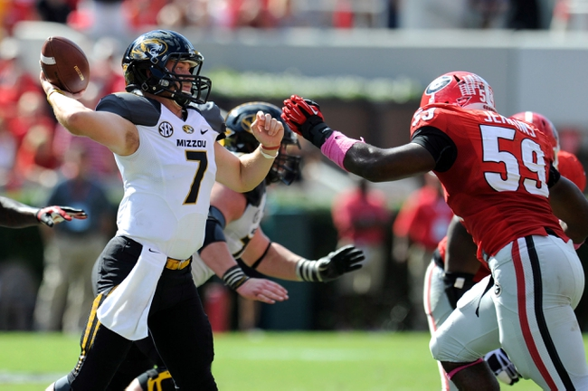 Oct 12, 2013; Athens, GA, USA; Missouri Tigers quarterback Maty Mauk (7) pass against the Georgia Bulldogs during the second half at Sanford Stadium. Missouri defeated Georgia 41-26. Mandatory Credit: Dale Zanine-USA TODAY Sports