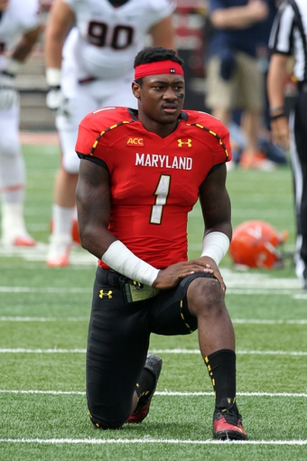 Oct 12, 2013; College Park, MD, USA; Maryland Terrapins wide receiver Stefon Diggs (1) warms up prior to the game against the Virginia Cavaliers at Byrd Stadium. Mandatory Credit: Mitch Stringer-USA TODAY Sports