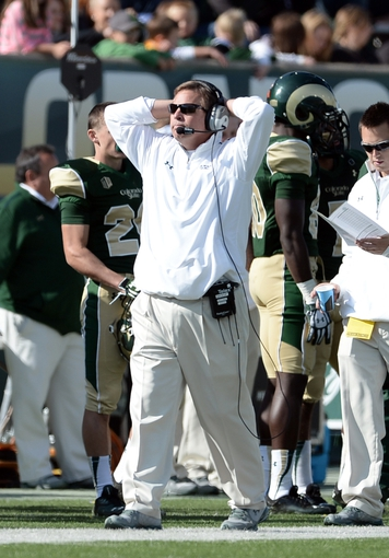 Oct 12, 2013; Fort Collins, CO, USA; Colorado State Rams head coach Jim McElwain reacts to giving up a touchdown to the San Jose State Spartans in the second quarter t Hughes Stadium. Mandatory Credit: Ron Chenoy-USA TODAY Sports