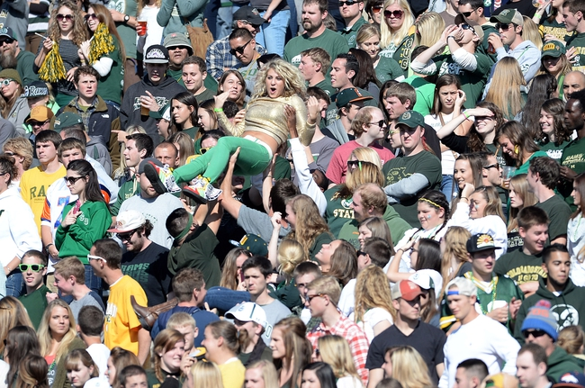 Oct 12, 2013; Fort Collins, CO, USA; Colorado State Rams fans react to a score in the second quarter against the San Jose State Spartans at Hughes Stadium. Mandatory Credit: Ron Chenoy-USA TODAY Sports