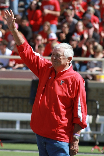 Oct 12, 2013; Lubbock, TX, USA; Texas Tech Red Raiders former head coach Spike Dykes is honored at half-time during the game against the Iowa State Cyclones at Jones AT&T Stadium. Mandatory Credit: Michael C. Johnson-USA TODAY Sports