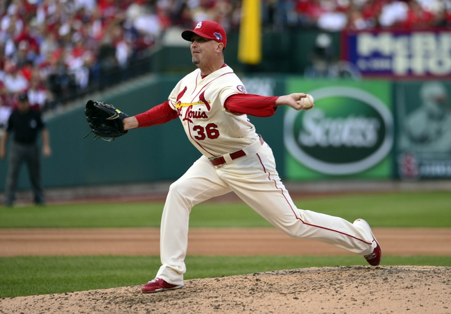 Oct 12, 2013; St. Louis, MO, USA; St. Louis Cardinals relief pitcher Randy Choate throws a pitch against the Los Angeles Dodgers during the 8th inning in game two of the National League Championship Series baseball game at Busch Stadium. Mandatory Credit: Scott Rovak-USA TODAY Sports