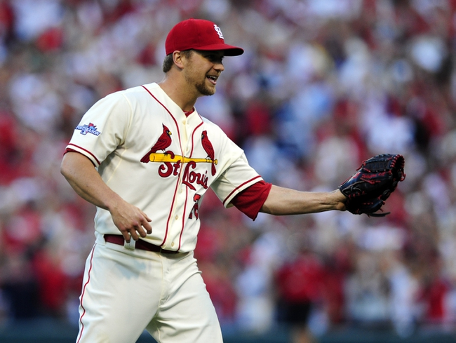 Oct 12, 2013; St. Louis, MO, USA; St. Louis Cardinals relief pitcher Trevor Rosenthal celebrates after game two of the National League Championship Series baseball game against the Los Angeles Dodgers at Busch Stadium. Mandatory Credit: Jeff Curry-USA TODAY Sports
