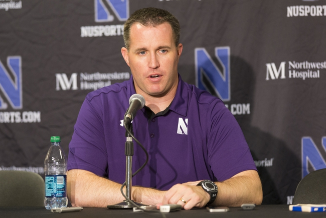 Oct 12, 2013; Madison, WI, USA; Northwestern Wildcats head coach Pat Fitzgerald answers questions from the media following the game against the Wisconsin Badgers at Camp Randall Stadium.  Wisconsin won 35-6.  Mandatory Credit: Jeff Hanisch-USA TODAY Sports