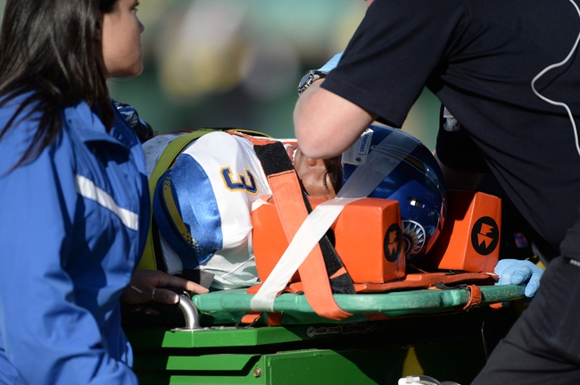 Oct 12, 2013; Fort Collins, CO, USA; (Editors note: Caption correction) San Jose State Spartans wide receiver Thomas Tucker (3) is carted off the field in the third quarter against the Colorado State Rams at Hughes Stadium. The Spartans defeated the Rams 34-27. Mandatory Credit: Ron Chenoy-USA TODAY Sports