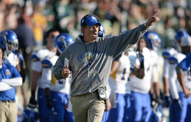 Oct 12, 2013; Fort Collins, CO, USA; San Jose State Spartans head coach Ron Caragher calls out in the fourth quarter against the Colorado State Rams at Hughes Stadium. The Spartans defeated the Rams 34-27. Mandatory Credit: Ron Chenoy-USA TODAY Sports