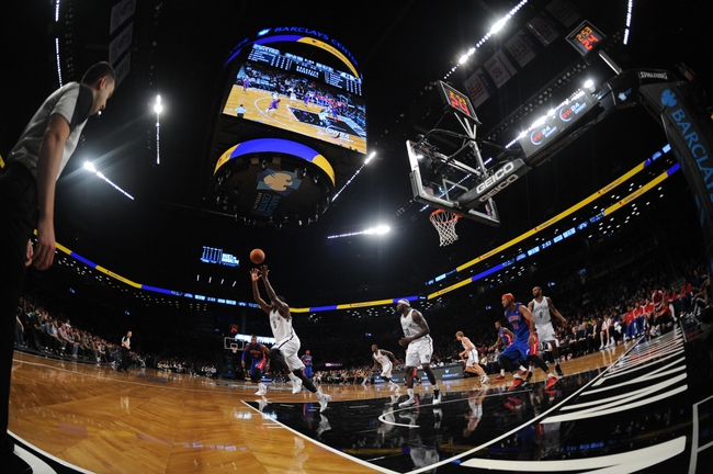Oct 12, 2013; Brooklyn, NY, USA; A general view of game action between the Detroit Pistons and Brooklyn Nets during the first half of the preseason game at Barclays Center. Mandatory Credit: Joe Camporeale-USA TODAY Sports