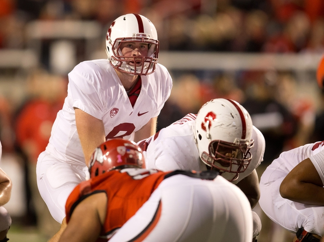 Oct 12, 2013; Salt Lake City, UT, USA; Stanford Cardinal quarterback Kevin Hogan (8) awaits a snap during the second half against the Utah Utes at Rice-Eccles Stadium. Utah defeated Stanford 27-21. Mandatory Credit: Russ Isabella-USA TODAY Sports