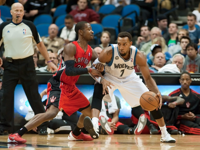 Oct 12, 2013; Minneapolis, MN, USA; Toronto Raptors shooting guard Terrence Ross (31) defends against Minnesota Timberwolves power forward Derrick Williams (7) in the fourth quarter at Target Center. Raptors won 104-97. Mandatory Credit: Greg Smith-USA TODAY Sports