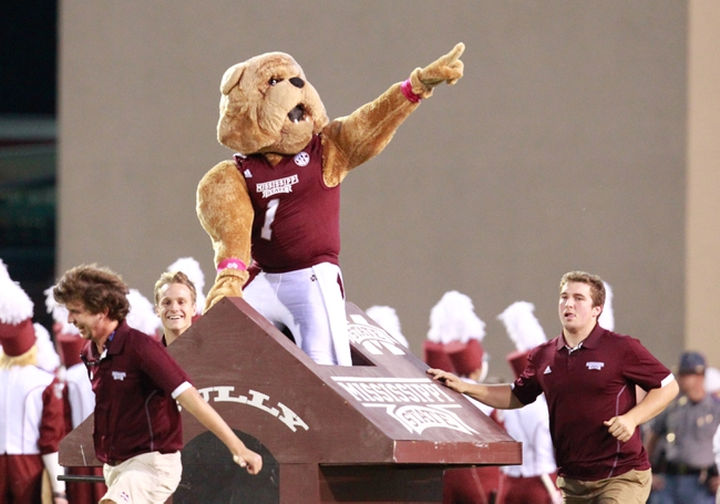 Oct 12, 2013; Starkville, MS, USA; Mississippi State Bulldogs mascot comes on to the field prior to the game against the Bowling Green Falcons at Davis Wade Stadium. Mandatory Credit: Marvin Gentry-USA TODAY Sports