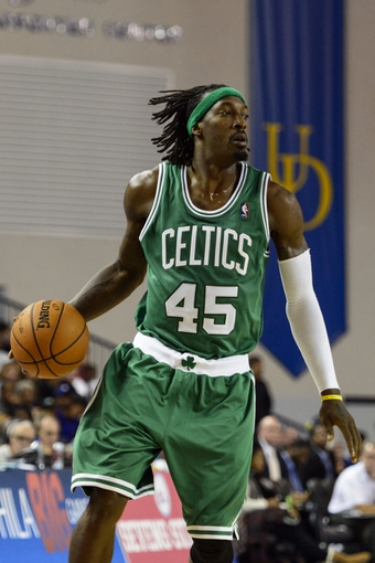 Oct 11, 2013; Newark, DE, USA; Boston Celtics forward Gerald Wallace (45) during the fourth quarter against the Philadelphia 76ers at Bob Carpenter Sports Convocation Center. The Sixers defeated the Celtics 97-85. Mandatory Credit: Howard Smith-USA TODAY Sports