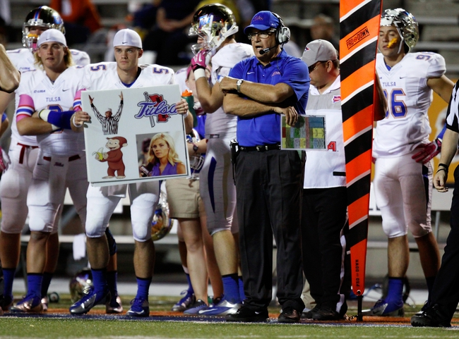 Oct 12, 2013; El Paso, TX, USA; Tulsa Hurricane head coach Bill Blankkenship calls a play as his offense faces the UTEP Miners defense at Sun Bowl Stadium. Tulsa defeated UTEP 30-20. Mandatory Credit: Ivan Pierre Aguirre-USA TODAY Sports