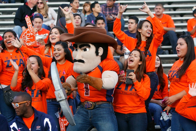 Oct 12, 2013; El Paso, TX, USA; UTEP mascot Paydirt Pete interacts with fans in the stands as the Miners face the Tulsa Hurricane at Sun Bowl Stadium. Tulsa defeated UTEP 30-20. Mandatory Credit: Ivan Pierre Aguirre-USA TODAY Sports