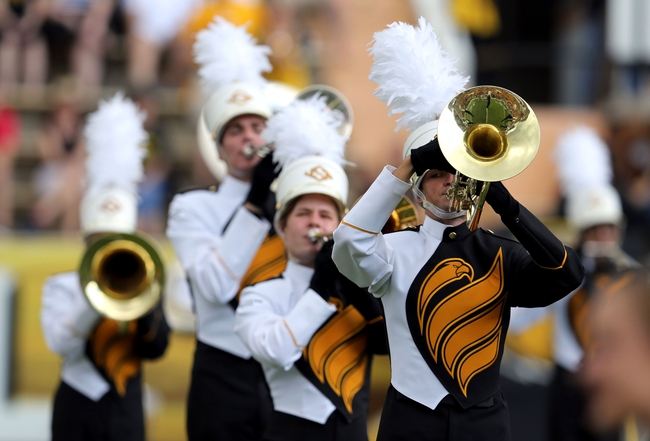 Oct 5, 2013; Hattiesburg, MS, USA; The University of Southern Mississippi marching band debuts new uniforms before the start of the football game between the Southern Miss Golden Eagles and FIU Golden Panthers at M.M. Roberts Stadium. Mandatory Credit: Chuck Cook-USA TODAY Sports