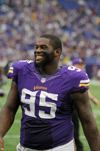 Sep 22, 2013; Minneapolis, MN, USA; Minnesota Vikings defensive tackle Sharrif Floyd (95) against the Cleveland Browns at Mall of America Field at H.H.H. Metrodome. The Browns defeated the Vikings 31-27. Mandatory Credit: Brace Hemmelgarn-USA TODAY Sports