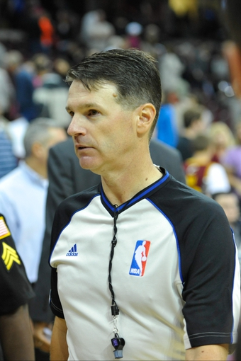 Oct 8, 2013; NBA referee Pat Fraher after a game between the Cleveland Cavaliers and the Milwaukee Bucks at Quicken Loans Arena. Cleveland won 99-87. Mandatory Credit: David Richard-USA TODAY Sports