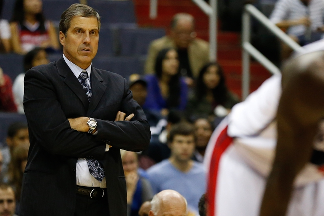 Oct 8, 2013; Washington, DC, USA; Washington Wizards head coach Randy Wittman watches from the bench against the Brooklyn Nets at Verizon Center. Mandatory Credit: Geoff Burke-USA TODAY Sports