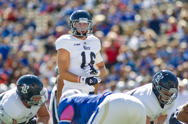 Oct 5, 2013; Tulsa, OK, USA; Rice Owls quarterback Taylor McHargue (16) calls a play during a game against the Tulsa Hurricanes at Skelly Field at H.A. Chapman Stadium. Rice defeated Tulsa 30-27 in an overtime. Mandatory Credit: Beth Hall-USA TODAY Sports