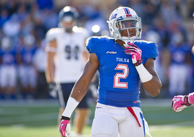 Oct 5, 2013; Tulsa, OK, USA; Tulsa Hurricanes wide receiver Keevan Lucas (2) looks to the sidelines during a game against the Rice Owls at Skelly Field at H.A. Chapman Stadium. Rice defeated Tulsa 30-27 in an overtime. Mandatory Credit: Beth Hall-USA TODAY Sports