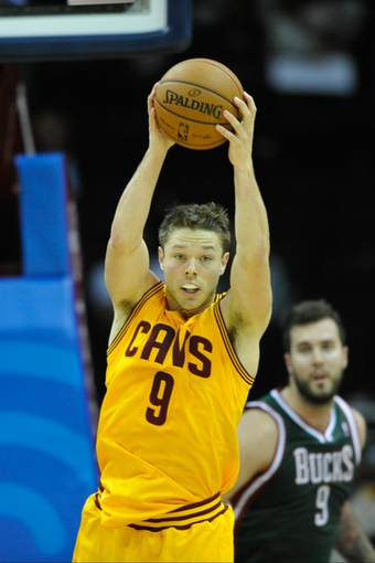 Oct 8, 2013; Cleveland Cavaliers guard Matthew Dellavedova (9) during a game against the Milwaukee Bucks at Quicken Loans Arena. Cleveland won 99-87. Mandatory Credit: David Richard-USA TODAY Sports