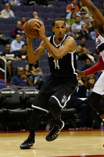 Oct 8, 2013; Washington, DC, USA; Brooklyn Nets point guard Shaun Livingston (14) holds the ball against the Washington Wizards at Verizon Center. Mandatory Credit: Geoff Burke-USA TODAY Sports