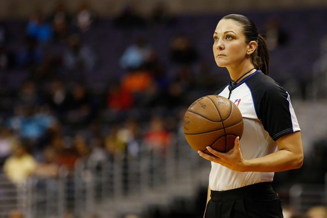 Oct 8, 2013; Washington, DC, USA; NBA referee Lauren Holtkamp holds the ball during a stoppage in play in the game between the Washington Wizards and the Brooklyn Nets at Verizon Center. Mandatory Credit: Geoff Burke-USA TODAY Sports