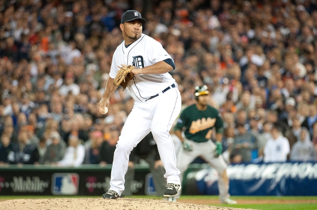 Oct 8, 2013; Detroit, MI, USA; Detroit Tigers relief pitcher Joaquin Benoit (53) throws a pitch against the Oakland Athletics in game four of the American League divisional series at Comerica Park. Mandatory Credit: Tim Fuller-USA TODAY Sports