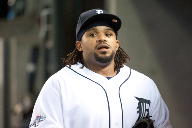 Oct 8, 2013; Detroit, MI, USA; Detroit Tigers first baseman Prince Fielder (28) in the dugout after game four of the American League divisional series against the Oakland Athletics at Comerica Park. Mandatory Credit: Tim Fuller-USA TODAY Sports