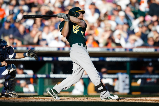 Oct 8, 2013; Detroit, MI, USA; Oakland Athletics first baseman Brandon Moss (37) at bat against the Detroit Tigers in game four of the American League divisional series at Comerica Park. Mandatory Credit: Rick Osentoski-USA TODAY Sports