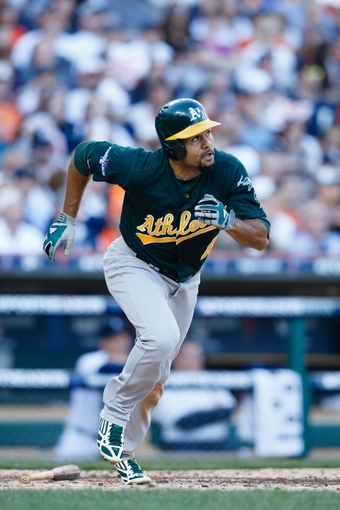 Oct 8, 2013; Detroit, MI, USA; Oakland Athletics center fielder Coco Crisp (4) runs the bases against the Detroit Tigers in game four of the American League divisional series at Comerica Park. Mandatory Credit: Rick Osentoski-USA TODAY Sports
