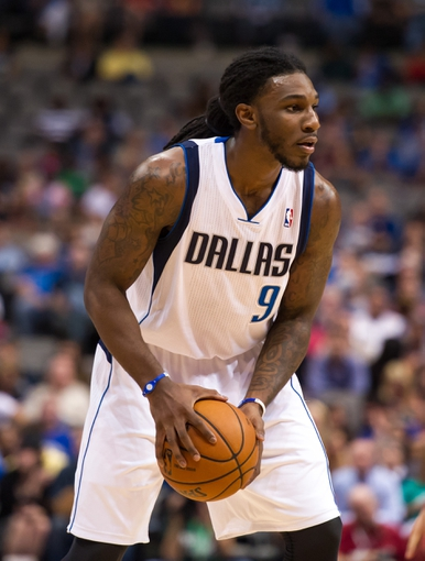 Oct 7, 2013; Dallas, TX, USA; Dallas Mavericks small forward Jae Crowder (9) looks to pass the ball during the game against the New Orleans Pelicans at the American Airlines Center. The Pelicans defeated the Mavericks 94-92. Mandatory Credit: Jerome Miron-USA TODAY Sports