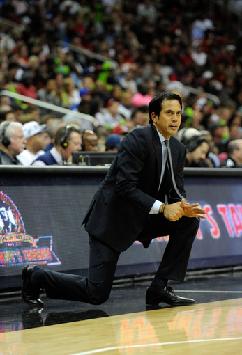 Oct 11, 2013; Kansas City, MO, USA; Miami Heat head coach Erik Spoelstra during the second half against the Charlotte Bobcats at Sprint Center. Miami won 86-75. Mandatory Credit: John Rieger-USA TODAY Sports