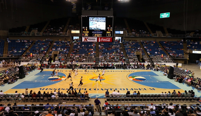 Oct 13, 2013; Biloxi, MS, USA; A general view of the game between the Atlanta Hawks and New Orleans Pelicans during the first half at the Mississippi Coast Coliseum. Mandatory Credit: Chuck Cook-USA TODAY Sports