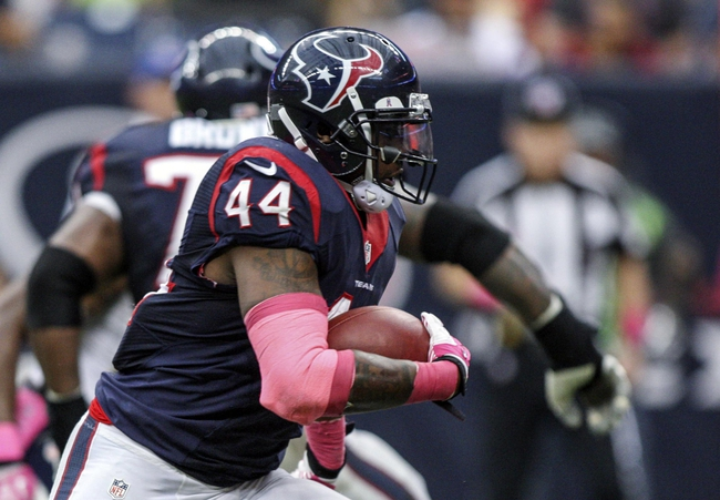 Oct 13, 2013; Houston, TX, USA; Houston Texans running back Ben Tate (44) rushes during the fourth quarter against the St. Louis Rams at Reliant Stadium. Mandatory Credit: Troy Taormina-USA TODAY Sports