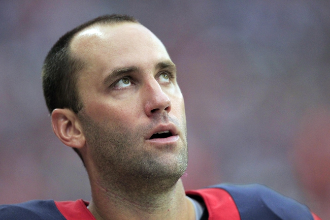 Oct 13, 2013; Houston, TX, USA; Houston Texans quarterback Matt Schaub (8) looks at the scoreboard against the St. Louis Rams during the second half at Reliant Stadium. The Rams won 38-13. Mandatory Credit: Thomas Campbell-USA TODAY Sports